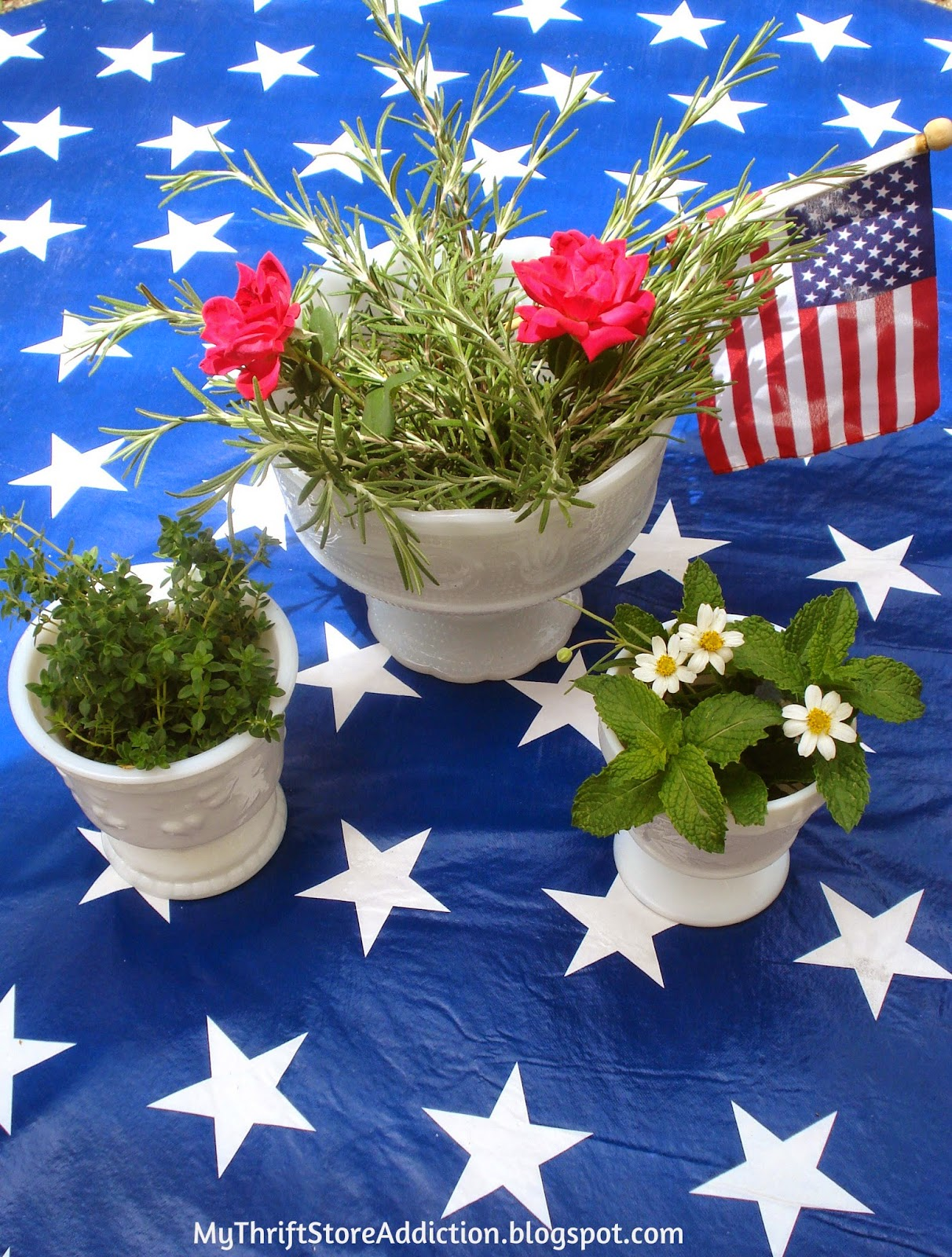 Upcycled patriotic planters