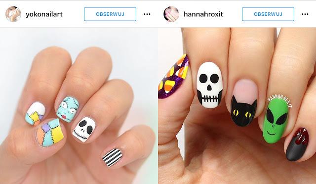 halloweenowe wzorki na paznokcie