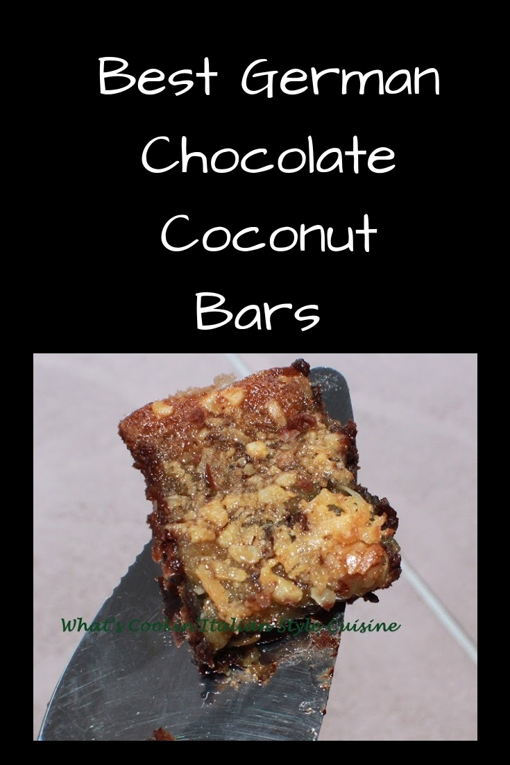 an easy bar cookie made like a german chocolate cake. This recipe is how to make german chocolate cake coconut bars