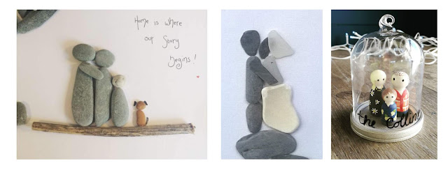 Collage featuring pebble pictures of a family with a dog, a wedding couple, and a 3D family in a jar.