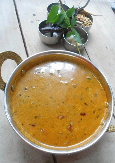 Pavakkai Theeyal | Bitter Gourd in roasted coconut -Tamarind gravy