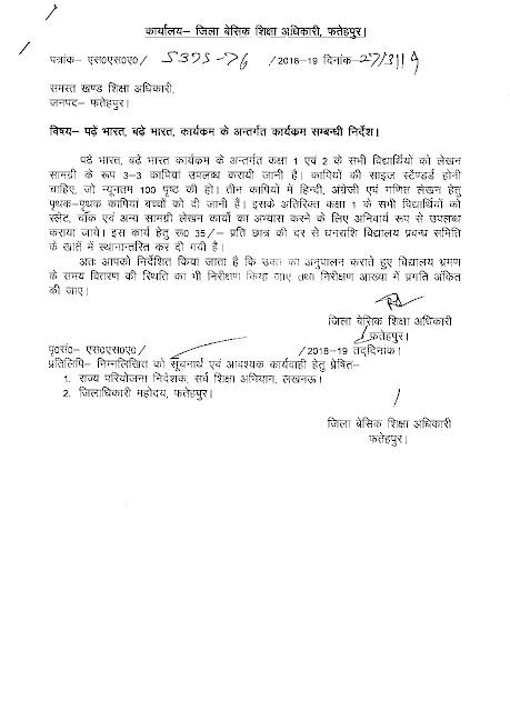 padhe bharat badhe bharat के अंतर्गत कक्षा 1 व 2 की स्टेशनरी के लिए मिले 35 रुपये