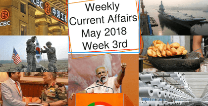 Weekly Current Affairs May 2018: Week 3rd