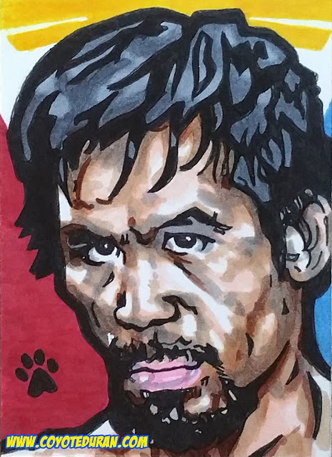 "Manny Pacquiao, 2.5"" X 3.5"", Micron pen and Copic Marker on Bristol Board sketch card. Art by Coyote Duran"