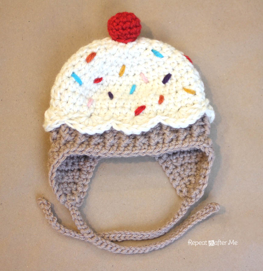 Crochet Pattern Free Cupcake : Crochet Cupcake Hat Pattern - Repeat Crafter Me