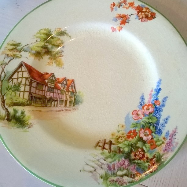 Woods china....so 30\u0027s with the cream and green edge the idyllic cottage garden scene with delphiniums and picket fence the tudor house and red tiled roof ... & gillyflower: Vintage Treasures and Rhubarb Cake