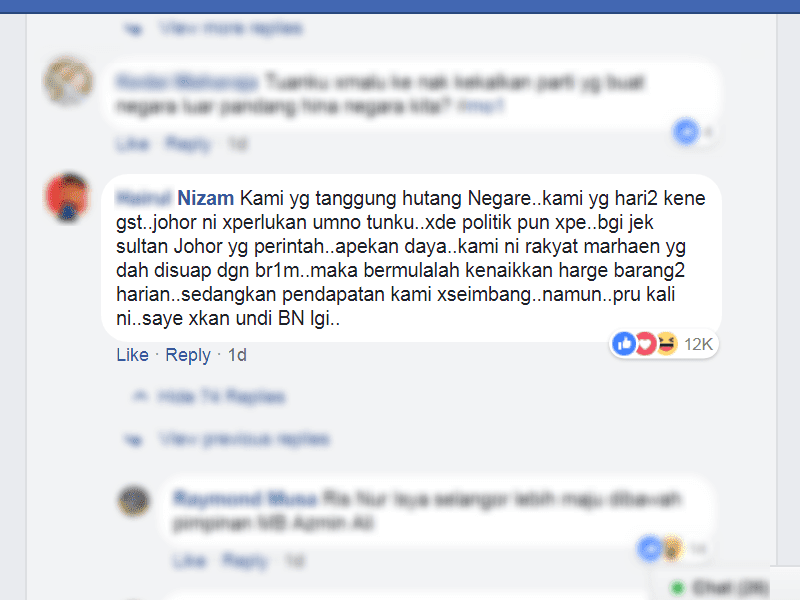 Rakyat Malaysia menanggung hutang BN UMNO PRU14