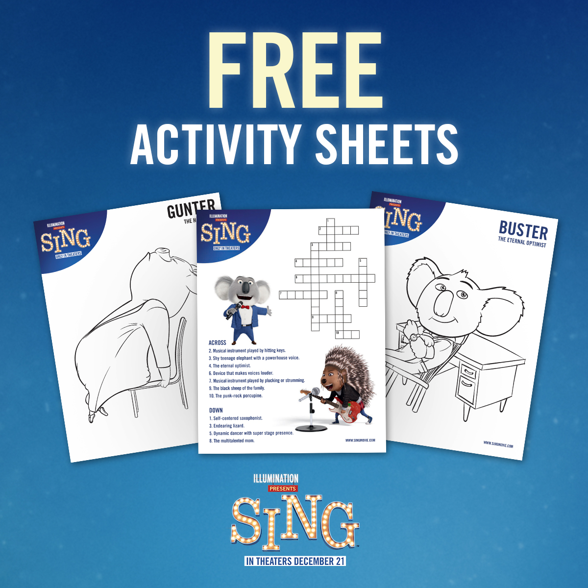A Geek Daddy Happy Holidays From Sing Activity Sheets Giveaway