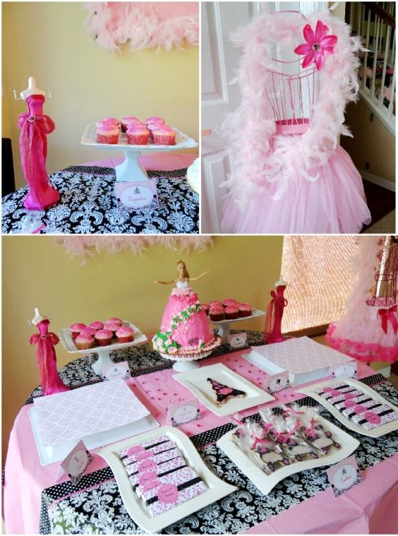A Pink Glam Barbie Birthday Party - via BirdsParty.com