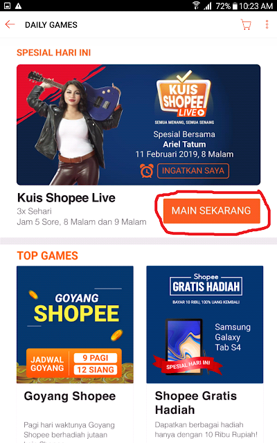 Daily Game Opsi Kuis Shopee LIVE.