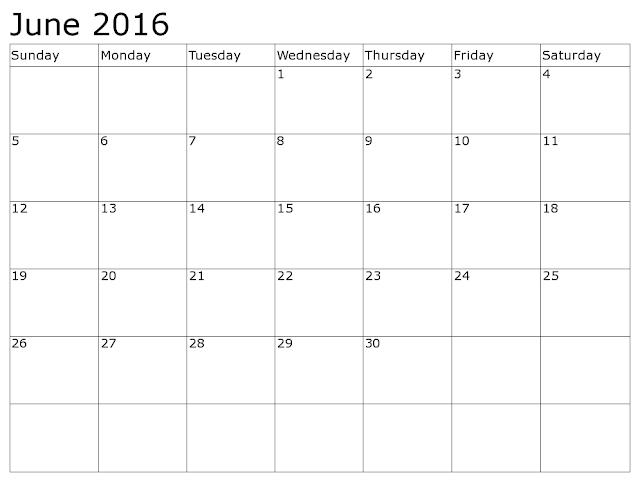 June 2016 Printable Blank Calendar Template,  monthly calendar printable monthly calendar 2016 portrait ,free printable monthly calendar 2016, june 2016 calendar printable pdf