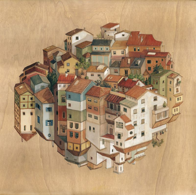 18-Poble-Cinta Vidal Agulló-Multi-directional-Surreal-Architecture-Drawings-and-Paintings-www-designstack-co