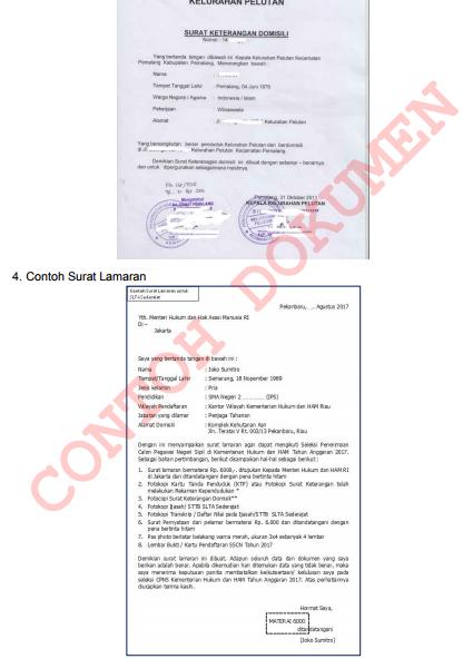 gambar dokumen surat lamaran pendaftaran cpns 2017