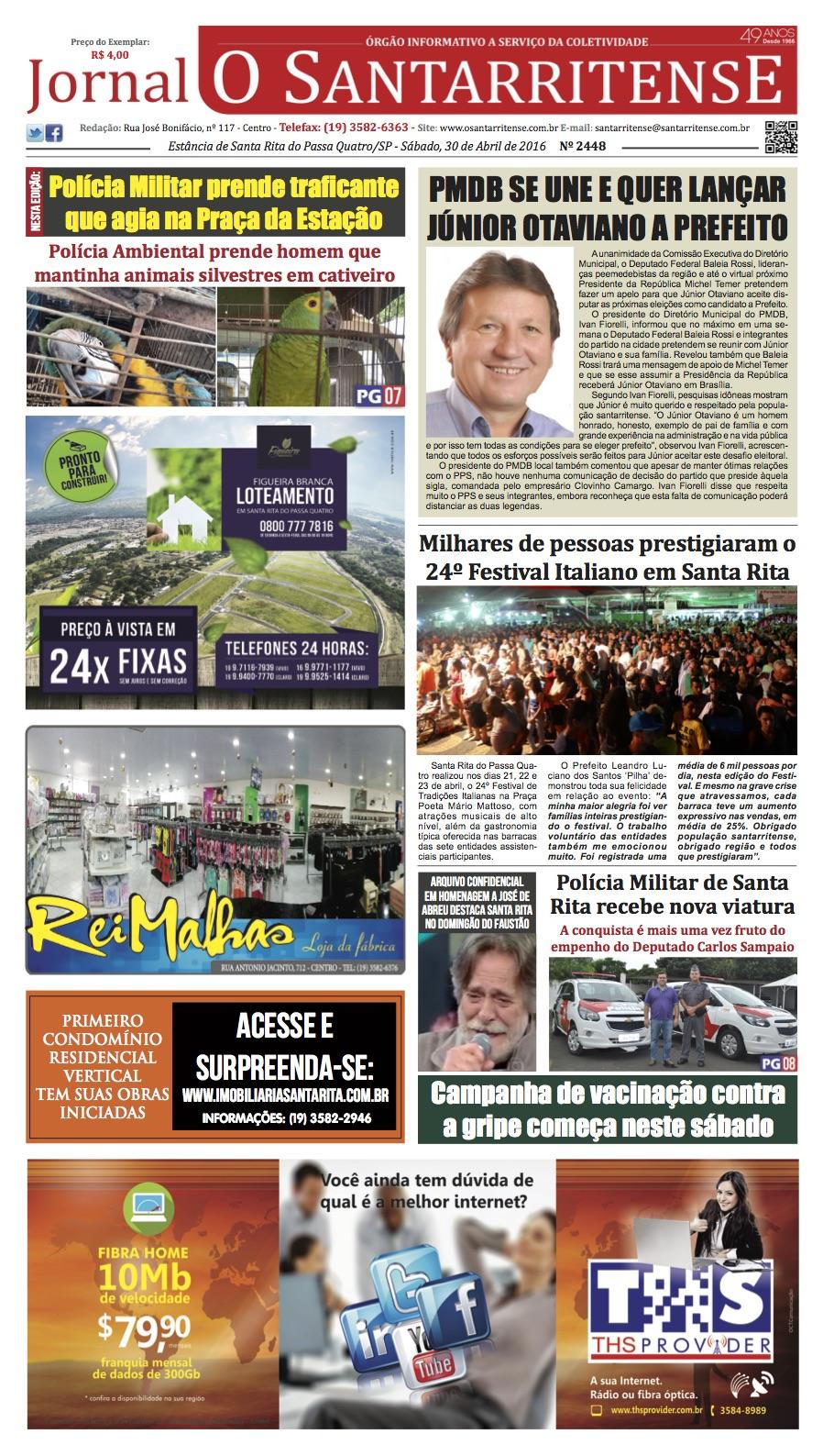 Capa de 'O Santarritense' - 30 de abril de 2016