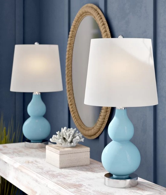 Beachy Blue Table Lamps Modern Style