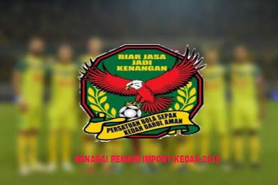 Senarai Pemain Import Baru Kedah 2019
