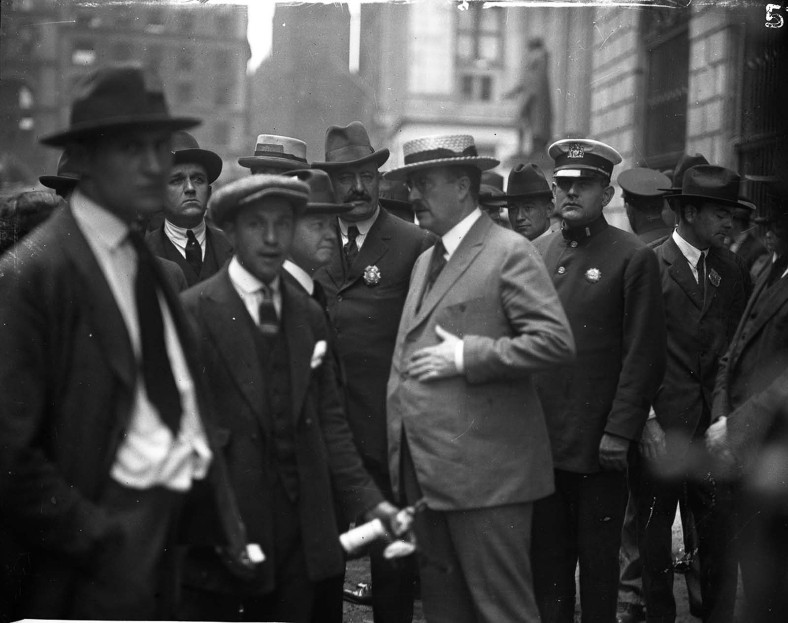 New York Mayor John Francis Hylan visits the site of the bombing two days after the explosion.