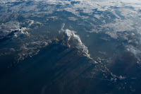 Cloud shadows on Pacific Ocean seen from International Space Station