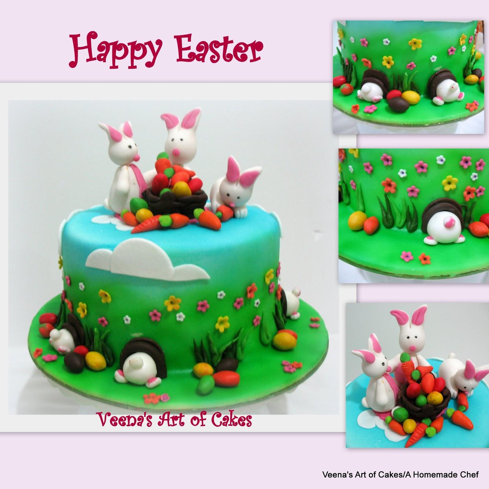 Easter Cake with Easter Bunnies - Veena Azmanov