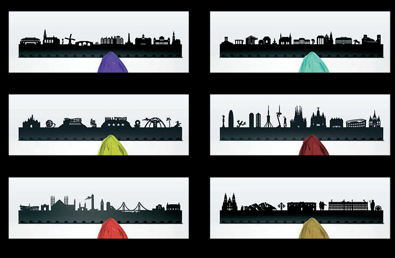city skyline coat racks
