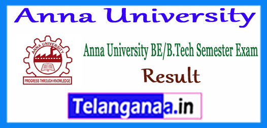 Anna University B.E B.Tech B.Arch Semester Exam Result 2017