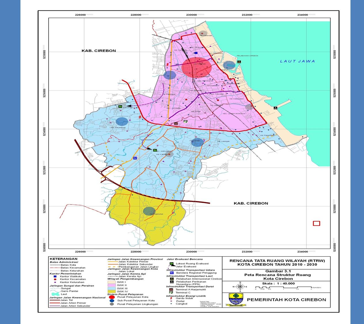Peta Kota dan Kab Cirebon, disertai nama-nama Kec dan Desa ...