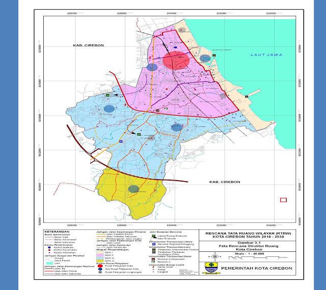 Peta Kota dan Kab  Cirebon, disertai nama-nama Kec dan Desa