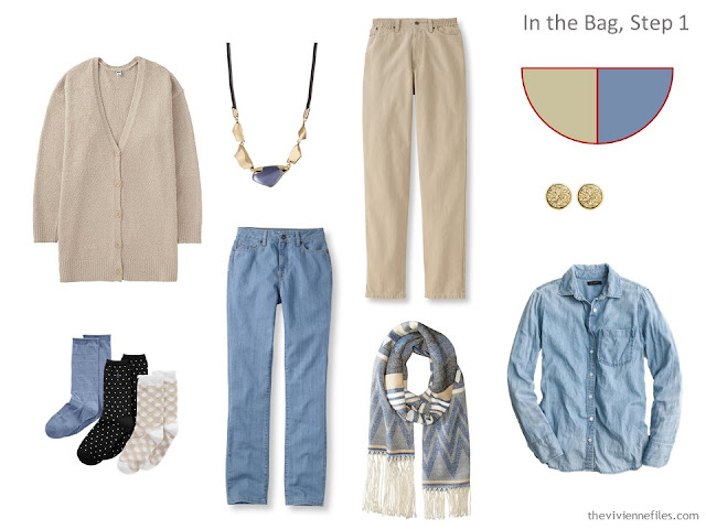 adding beige and denim pieces to a travel capsule wardrobe