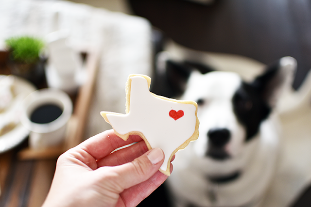 moving home announcement texas shaped cookie decorated royal icing sugar cookie