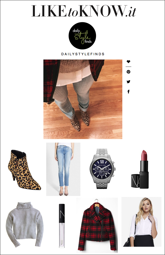 how to shop instagram posts, liketoknow.it, gap plaid coat, leopard booties, michael kors watch