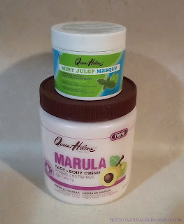 An image of the two below mentioned produacts Queen Helene Mint Julep Masque, Mint Julep & Queen Helene Marula Face and Body Creme.  The body cream ont he bottom is much larger and has a brown lid and fruit on the label.  The masque is smaller and sitting on top of the other with a blue and green label.