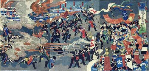 Great Victory of the Combined Imperial Forces of Mori and Shimayama by Kunihiro Utagawa