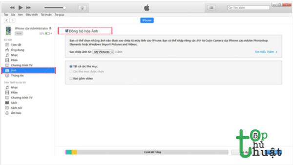 Lựa chọn Đồng bộ hóa hoặc Xong, rồi chọn Áp dụng để có thể tải ảnh vào thiết bị iOS mình đang sử dụng.