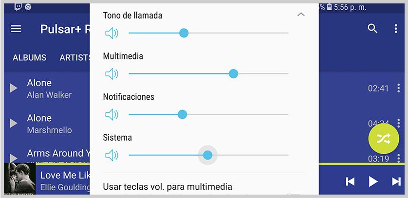 ajustar varias configuraciones de volumen en android