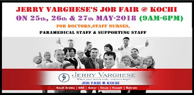 Jerry Varghese's Job Fair @ kochi for Doctors,Staff Nurses,Paramedical Staff & Supporting Staff- 2018