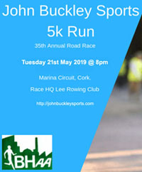 Flat fast 5k in Cork City - Tues 21st  May 2019