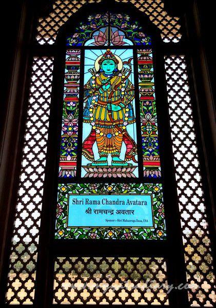 Shri Ram Chandra avatar stained glass window vedic art gallery - ISKCON Jaipur, Rajasthan