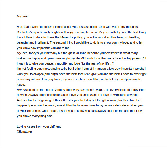 Birthday paragraph for her - Sample birthday letters for girlfriend