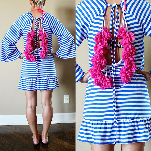 Shein blue and white striped beach cover-up, SUNDRESS Indiana Stripe Short Beach Dress