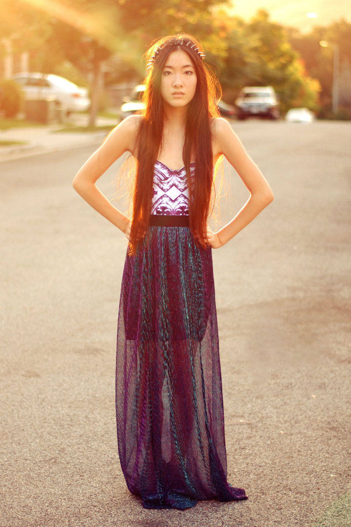 432370144ec2 Spiked Headband c/o Oasap, Purple Gothic Bodysuit c/o Motel Rocks, Sparkly  Maxi Skirt c/o Oh My Frock