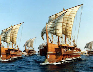 fleet of greek galleys
