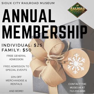 picture of wrapped present and prices of gift memberships to Sioux City Railroad Museum, $25/person or $50/family