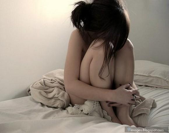 sad crying naked girl