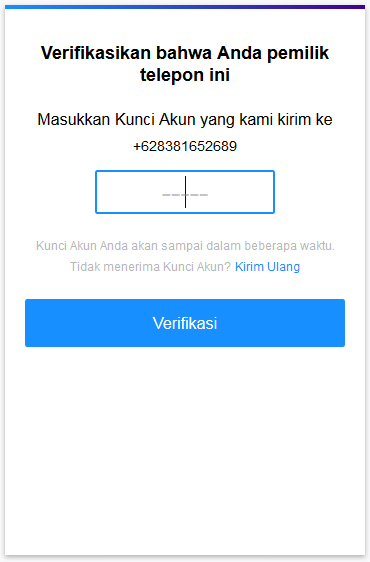 Verifikasi no hanphone