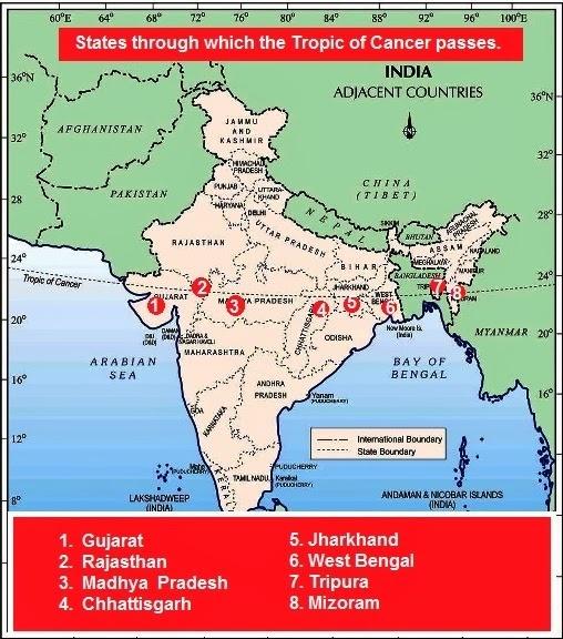 भारत से गुज़रती कर्क रेखा, Tropic of Cancer passing through India