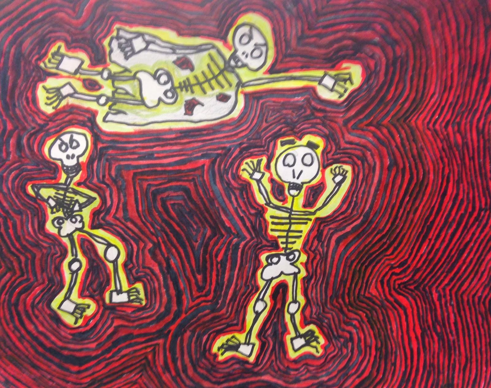 Art Room Blog 4th Grade Dancing Skeletons Based On The