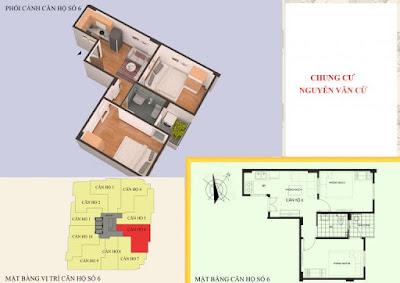 Thiết kế căn hộ số 6-2PN diện tích 44m2
