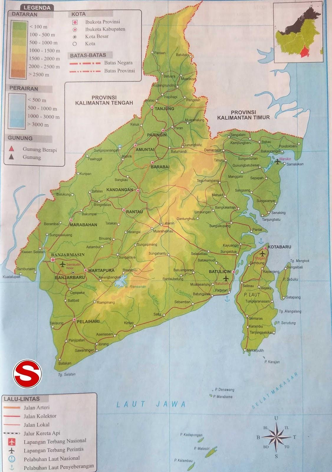 Peta Atlas Provinsi Kalimantan Selatan di bawah ini mencakup peta dataran Peta Atlas Provinsi Kalimantan Selatan