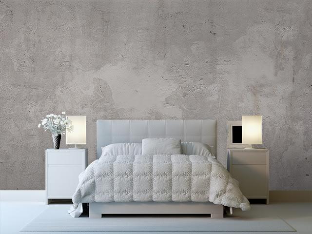 betongtapet sovrum ljusgrå fototapet concrete betongvägg