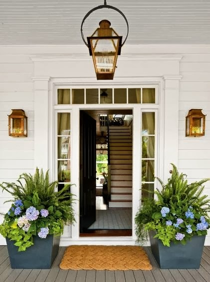 Planters for the Home Pots Entryway Lamp Light Fixture Staircase Floor Mat Square Pots Greenery Flowers